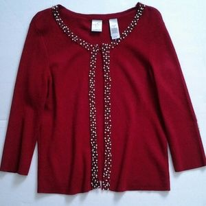 Red Sweater Pearl Trim size Petite M
